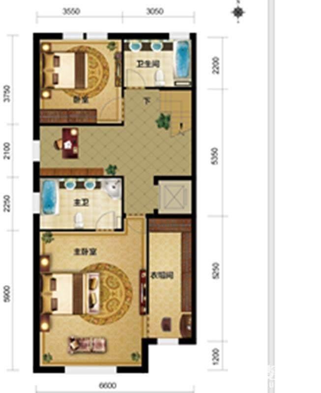 一期别墅F1户型三层