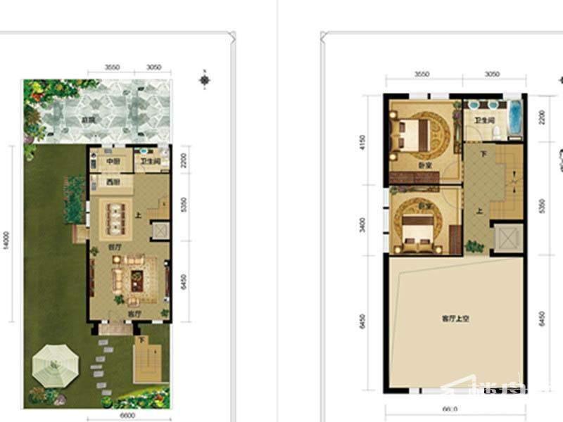 一期别墅F1户型一二层