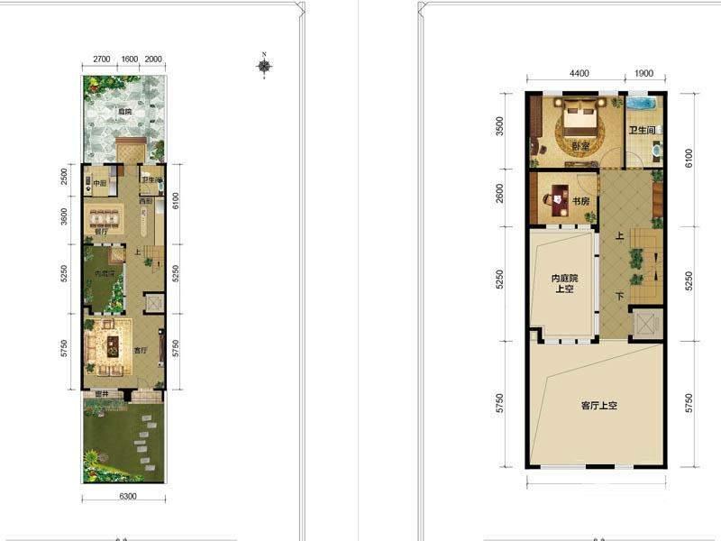 一期别墅B1户型一二层