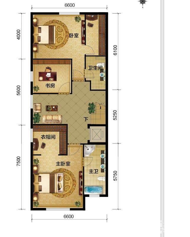 一期别墅C1户型三层