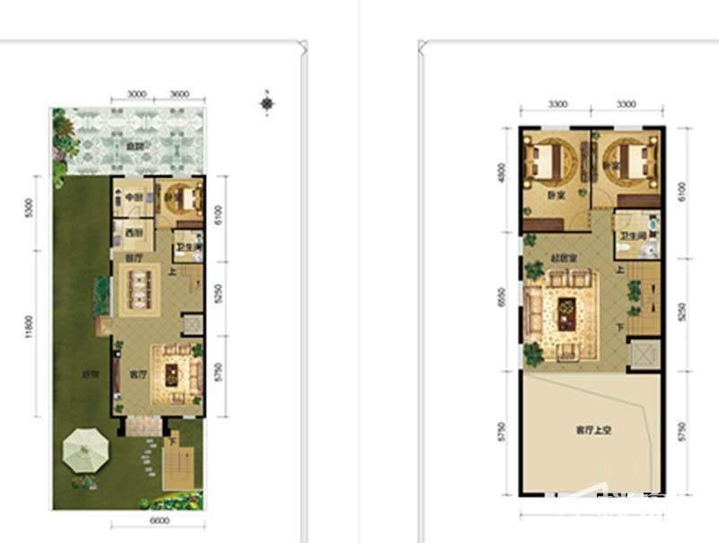 一期别墅C1户型一二层