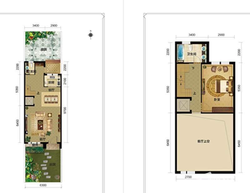 一期别墅E1户型一二层