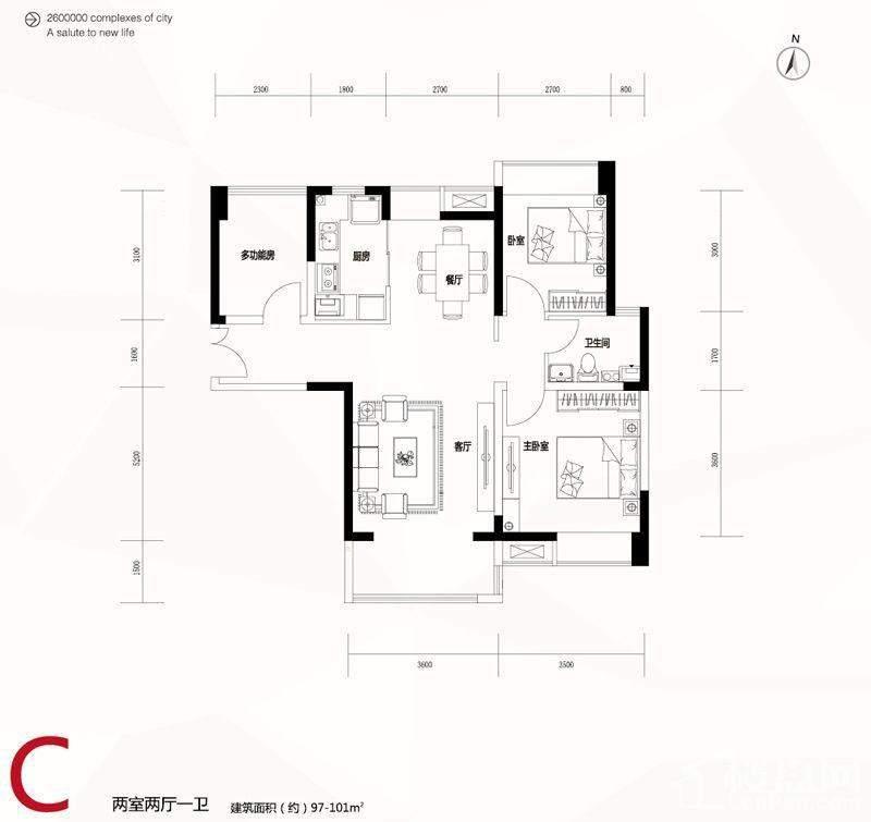 1-3、6-7、9-11号楼标准层C户型