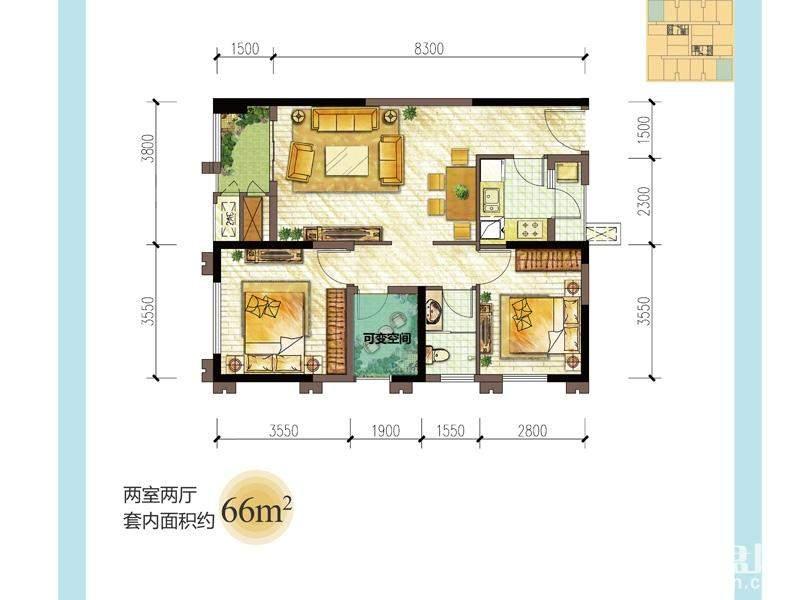 三期龙湖大道二期39号楼标准层C户型
