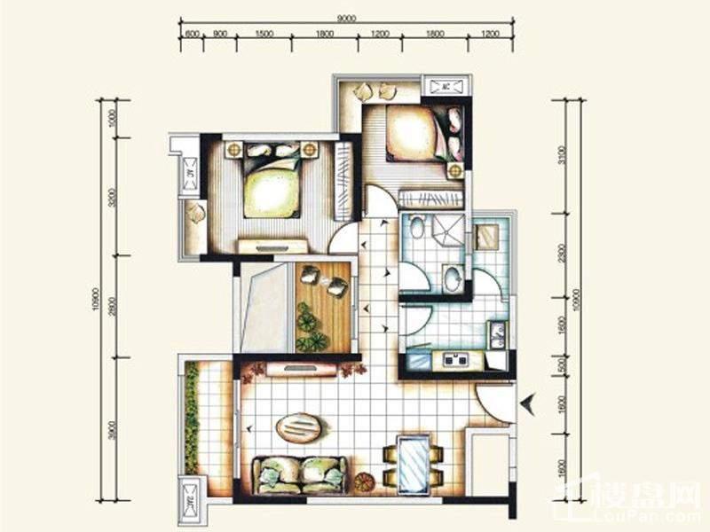 一期标准层1号房户型