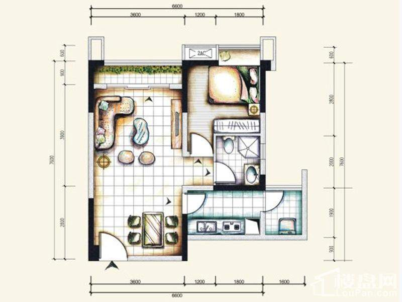 一期标准层2号房户型