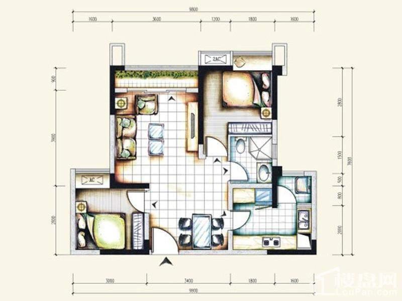 一期标准层3号房户型
