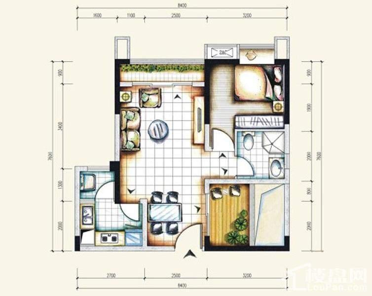 一期标准层4号房户型