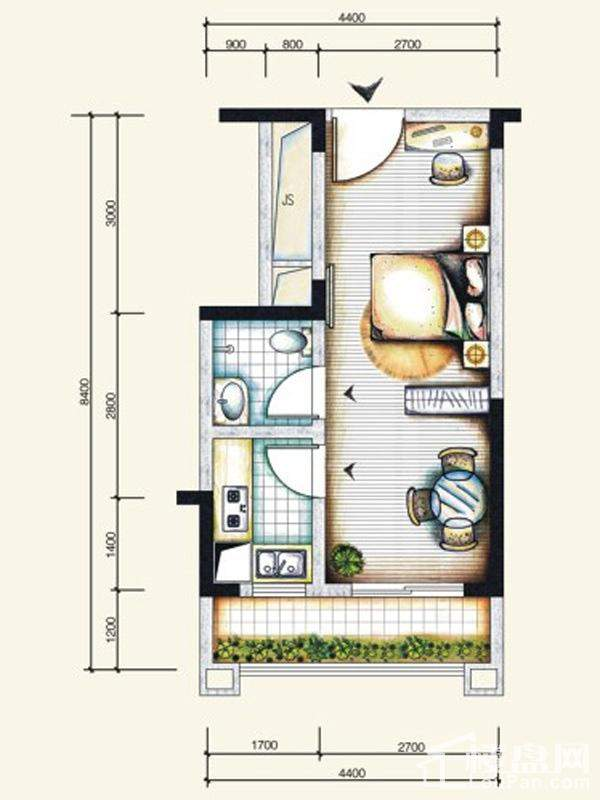 一期标准层6号房户型