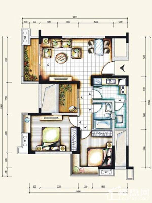 一期标准层8号房户型