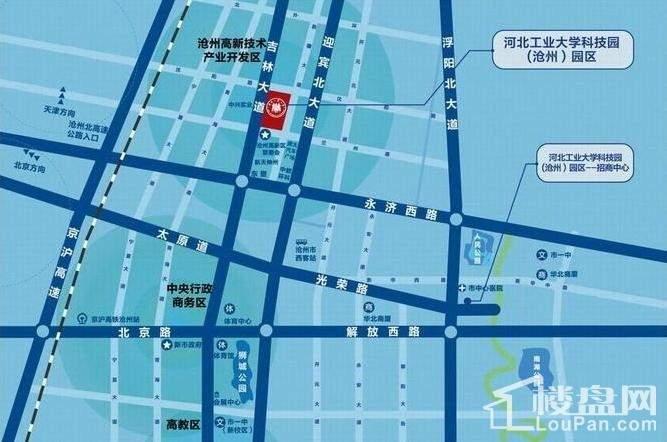 河北工业大学科技园(沧州)园区位置图