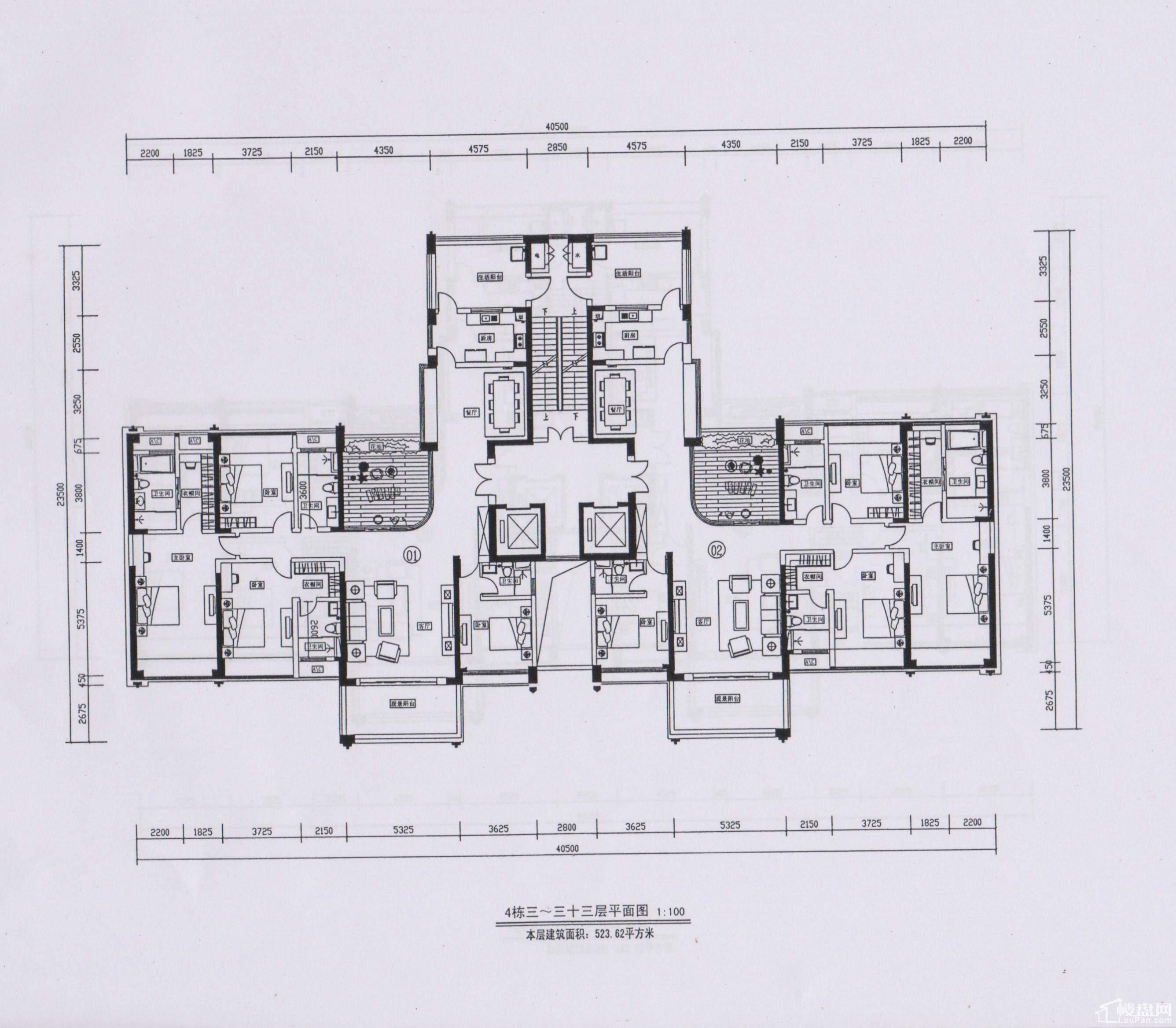 4栋3-33层平面图