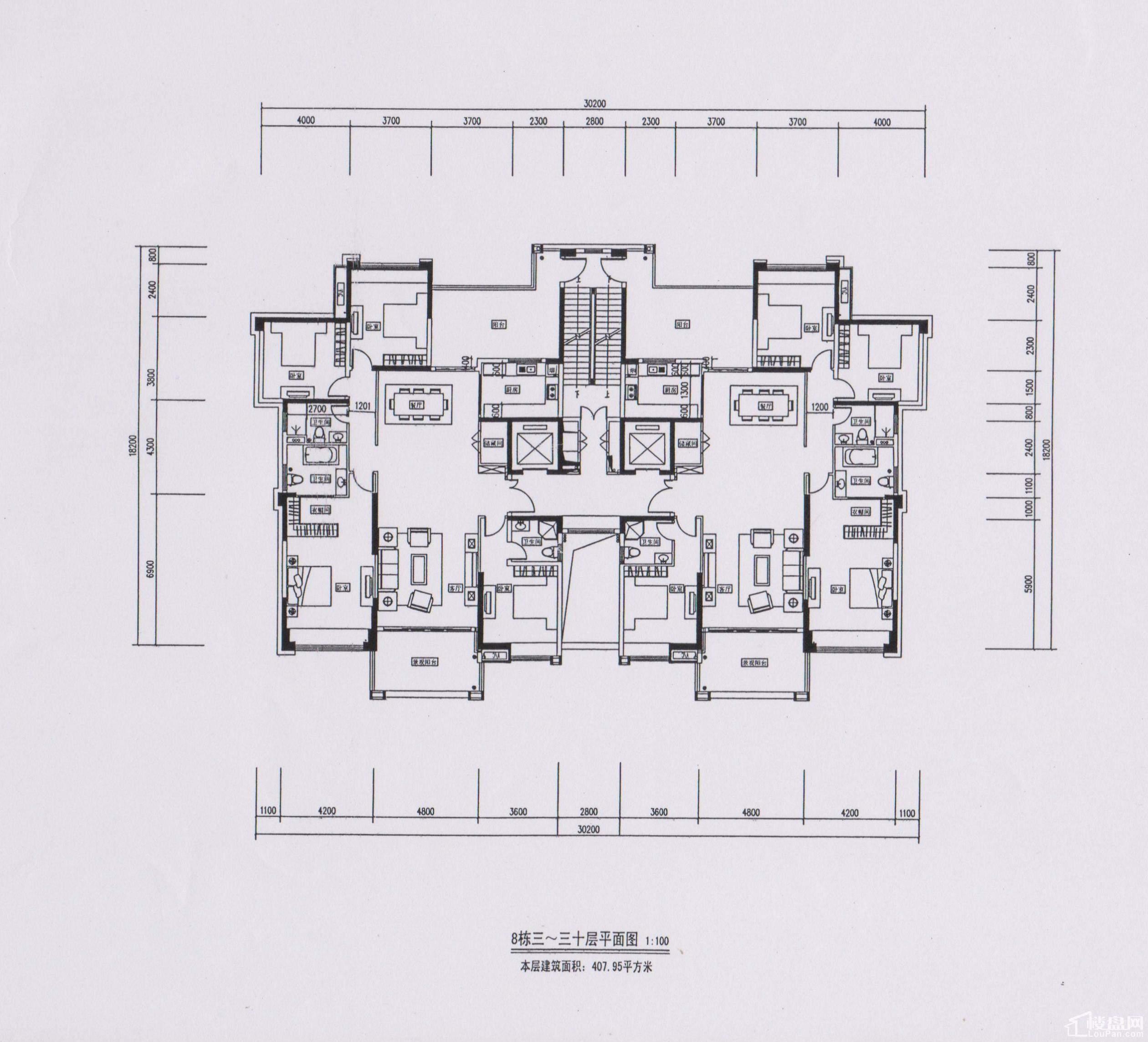 8栋3-30层平面图