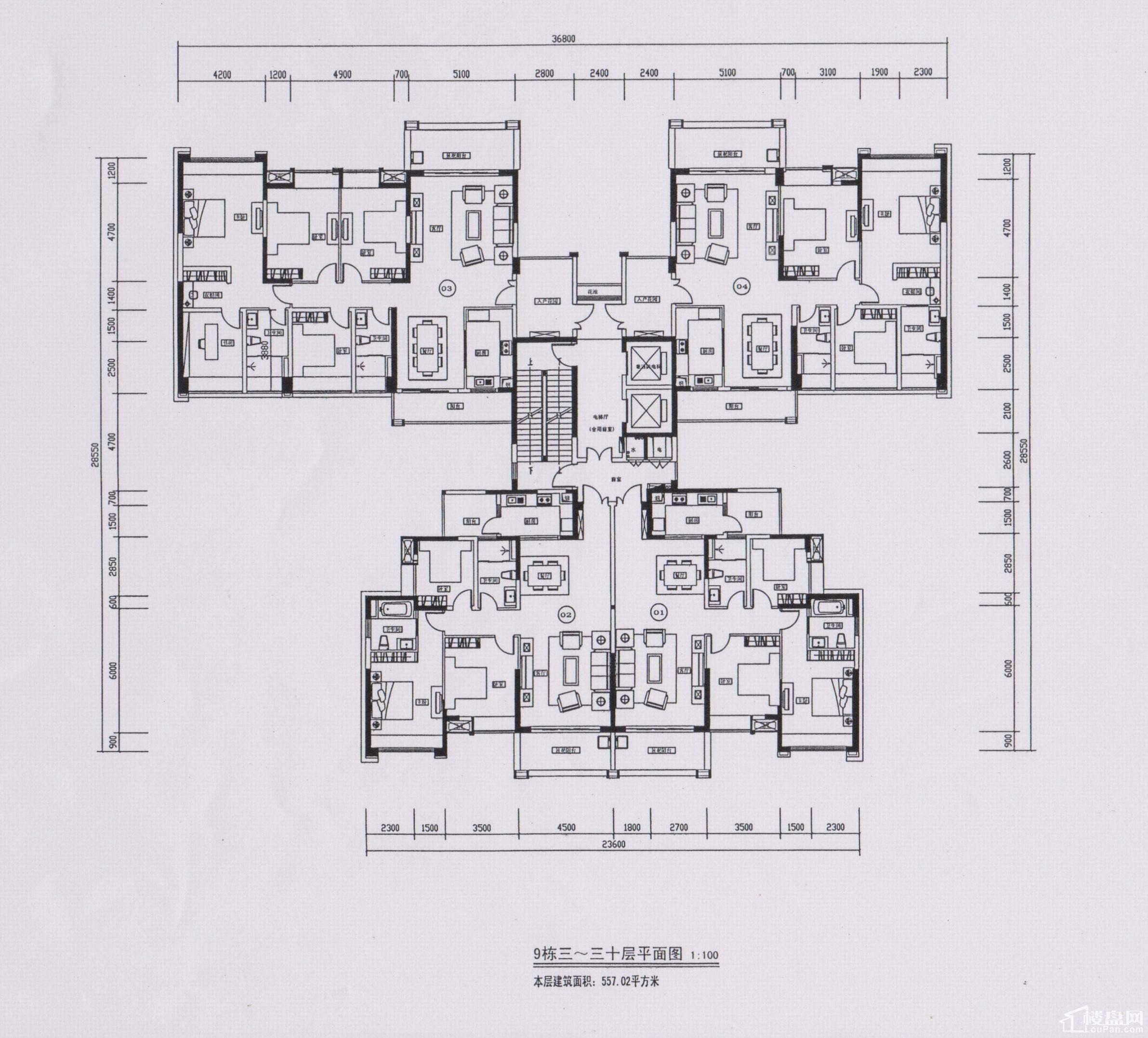 9栋3-30层平面图