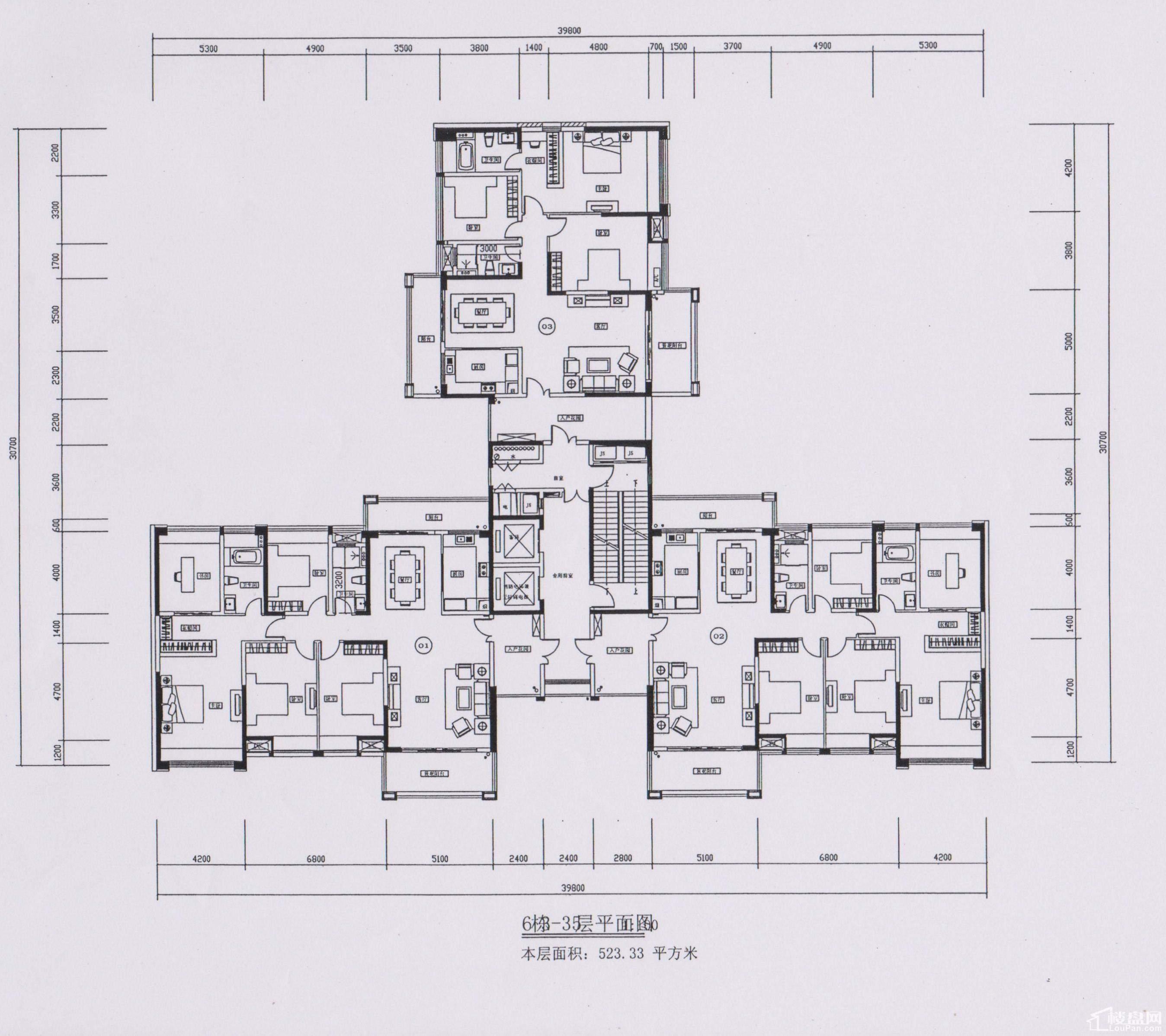 6栋3-35层平面图