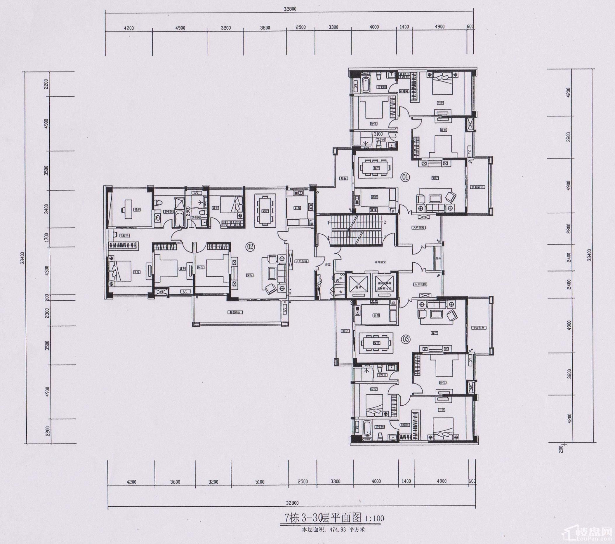 7栋3-30层平面图