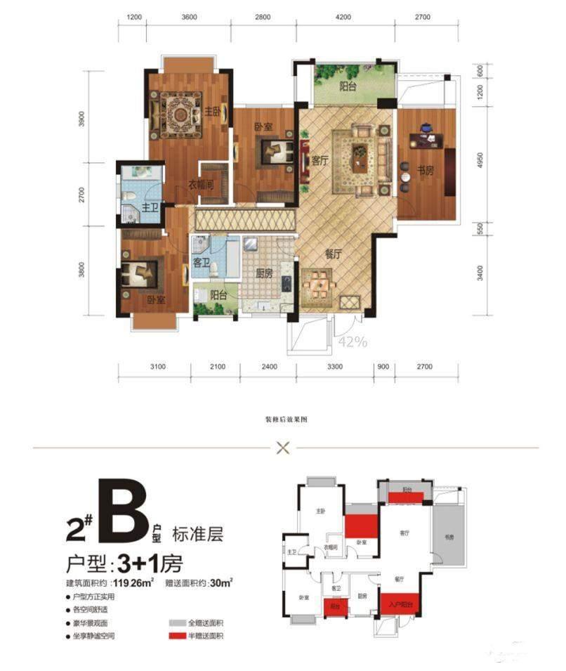 2#楼B户型3+1房