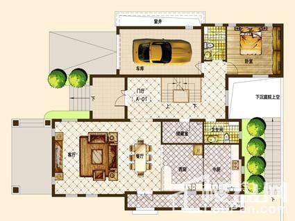 别墅A01户型一层