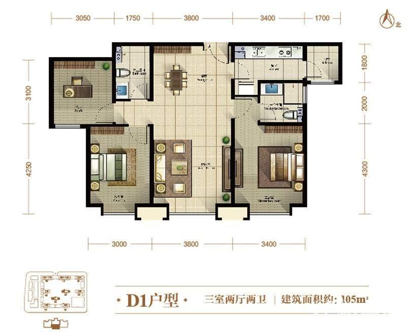 4、6号楼标准层D1户型
