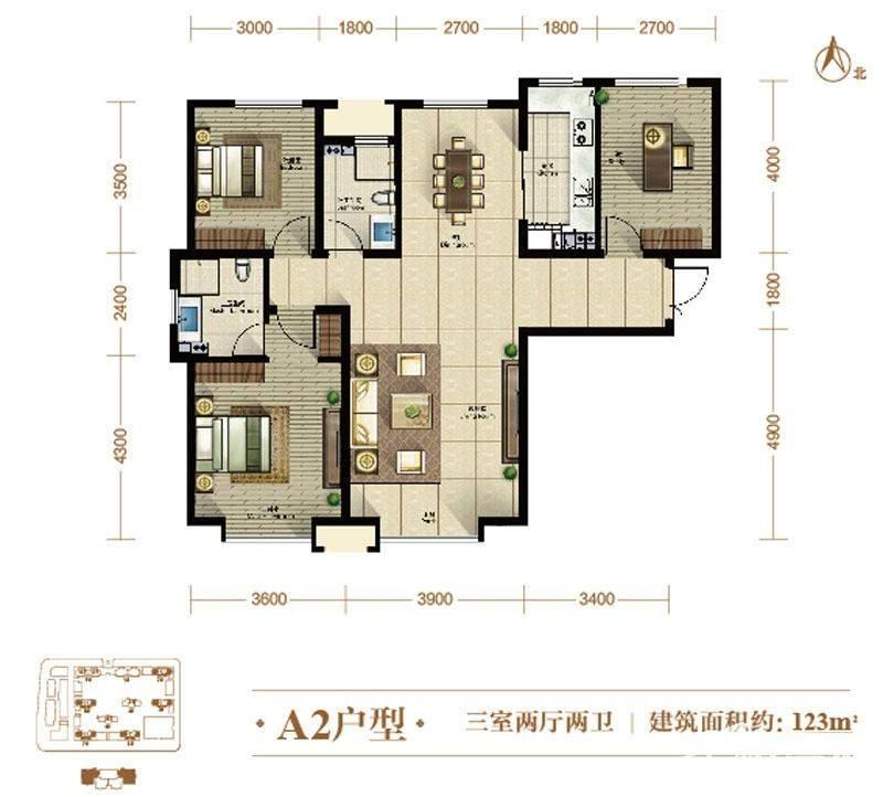 5、7、8号楼标准层A2户型
