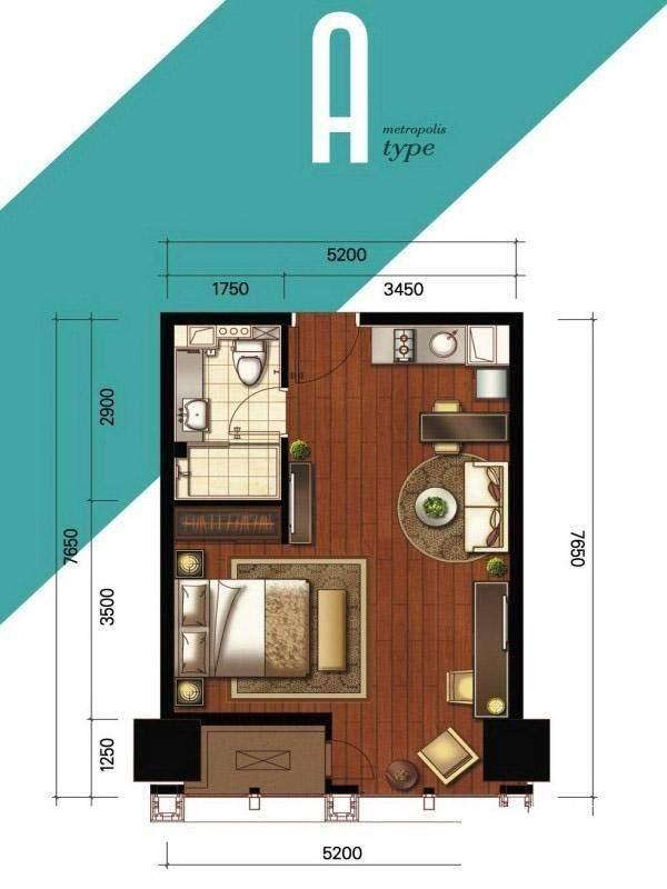1#、2#楼公寓标准层A户型