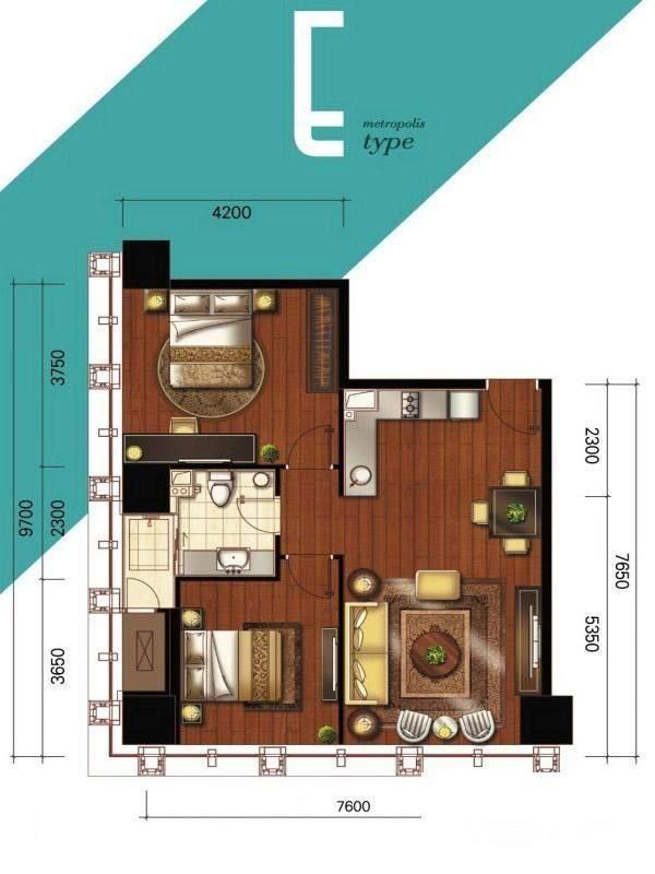 1#、2#楼公寓标准层E户型