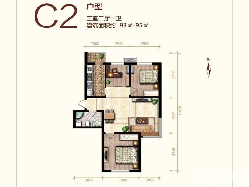 二期高层标准层C2户型图
