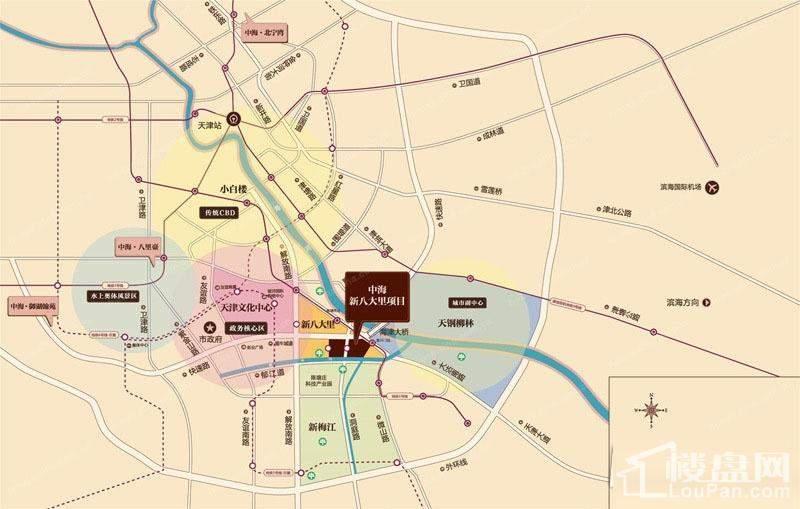 中海新八大里项目交通图
