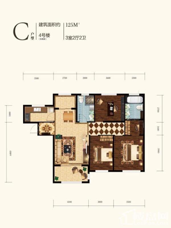 高层4号楼标准层C户型