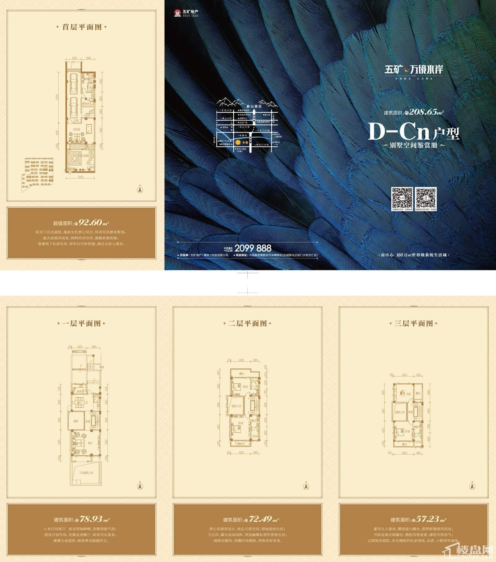 别墅户型D-Cn地上建筑面积208.65+赠送面积92.6