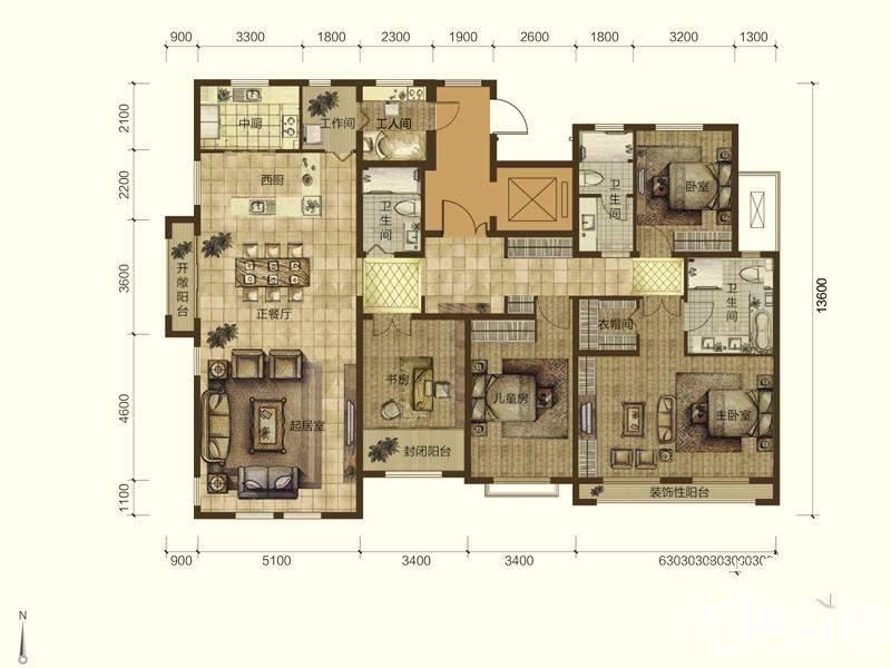 蓝石大溪地 E15#、E21#楼标准层户型