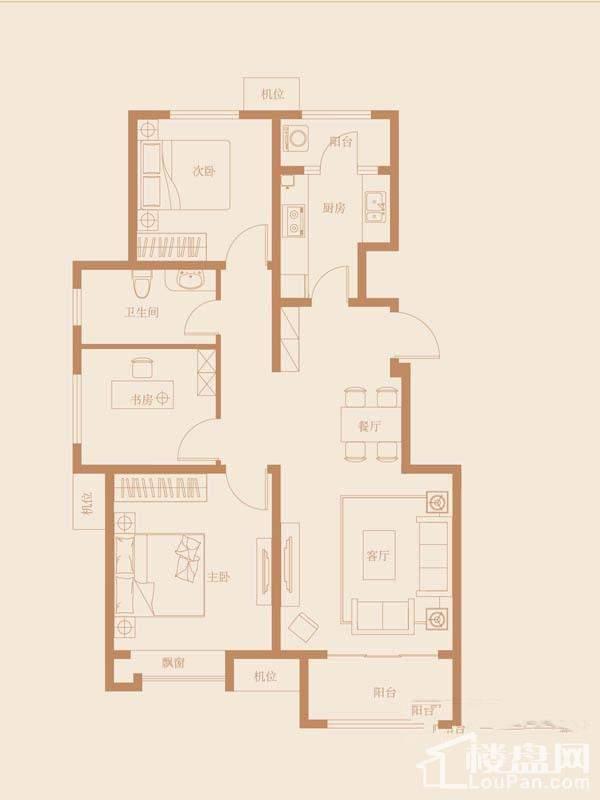 41、42、43号楼标准层B3户型