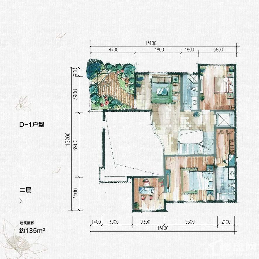 大汉汉园独栋别墅D-1户型二层