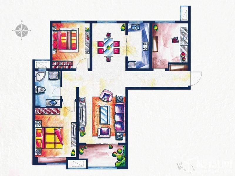一期3#、4#楼标准层L3户型