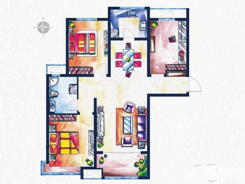 一期3#、4#楼标准层D1户型