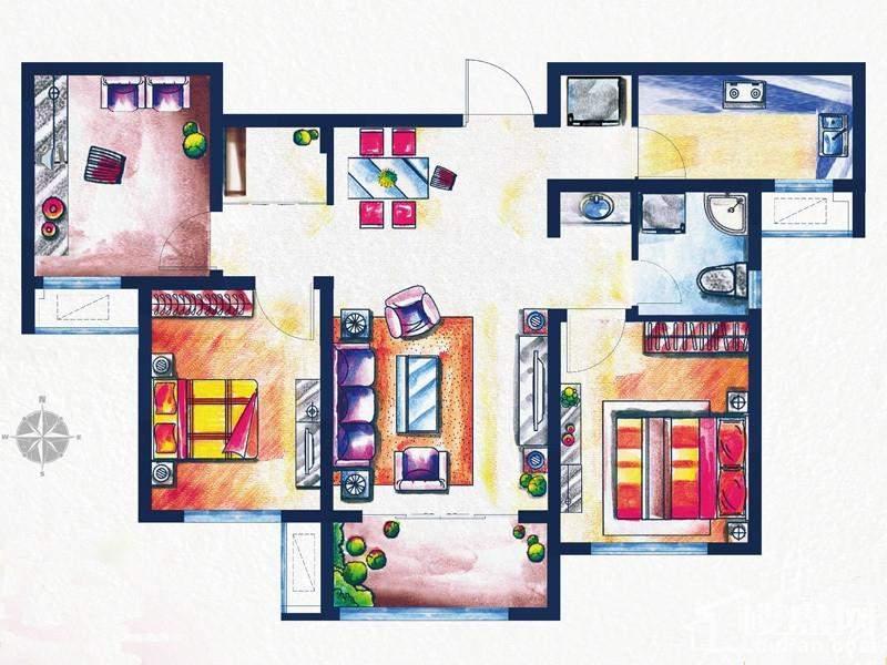 一期3#、4#楼标准层D2户型