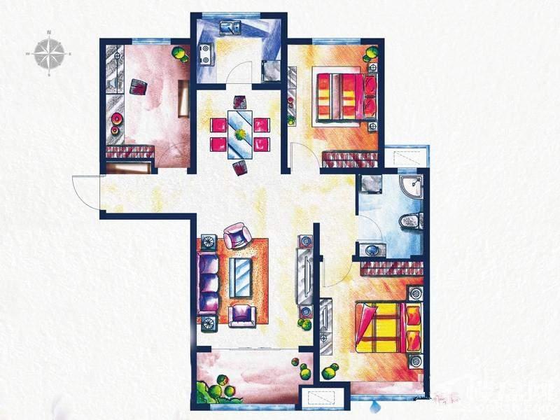 一期3#、4#楼标准层D3户型