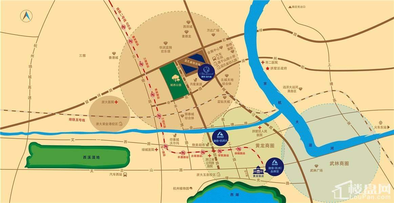 融信蓝孔雀交通图及周边配套设施-杭州楼盘网
