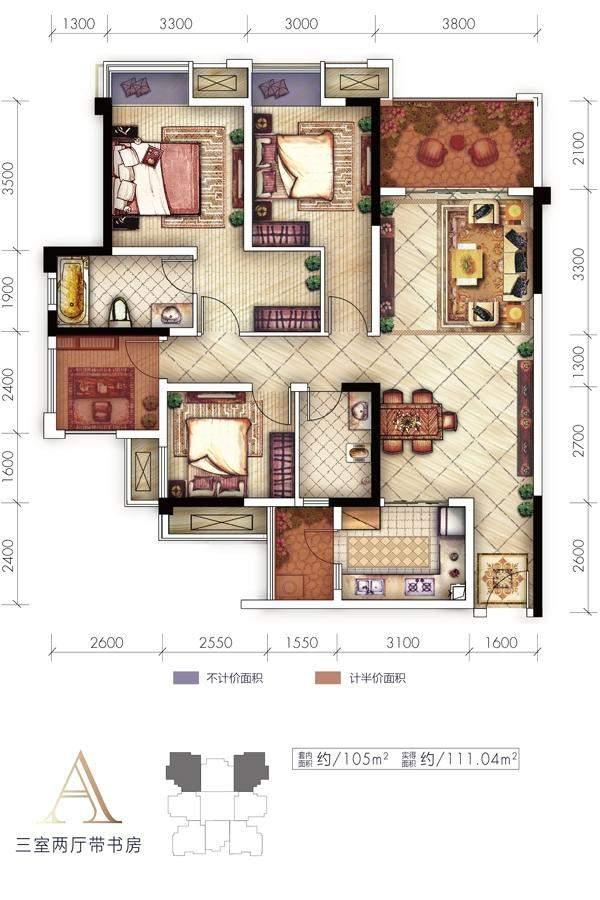 1期高层1、2、3、4、5号楼标准层A