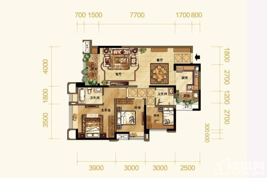 高层1号楼标准层89平