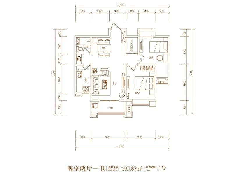 5号地1号楼标准层F2户型·