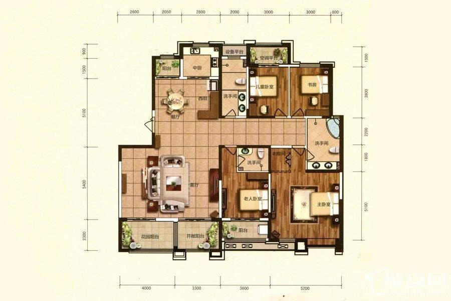 洋房5号楼标准层D2户型