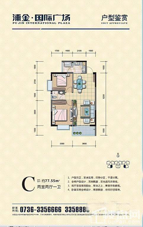 浦金国际广场C户型户型图