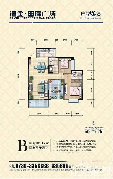 浦金国际广场B户型户型图