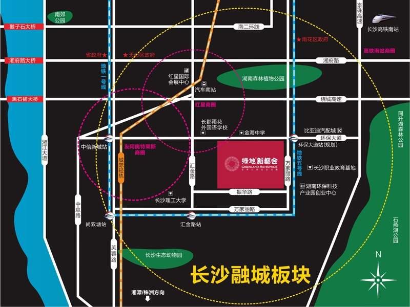 长沙绿地新都会位置图