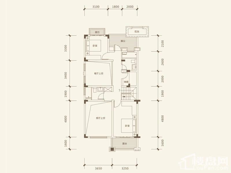 五矿沁园金城3-14栋叠墅B1户型阁楼