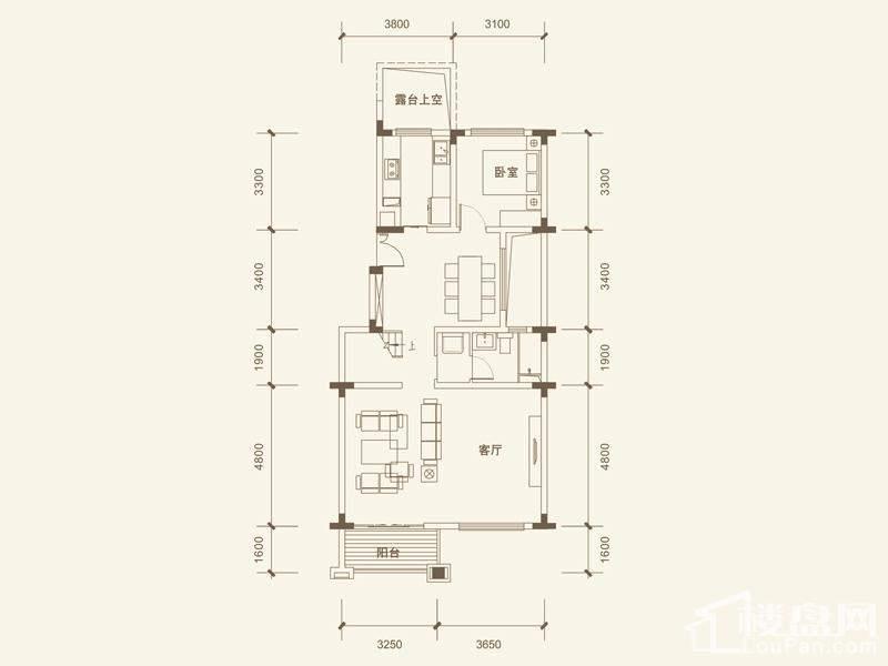 五矿沁园金城3-14栋叠墅B2户型阁楼