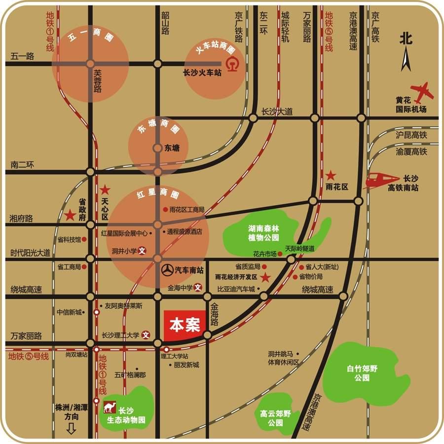 中南(长沙)总部基地位置图