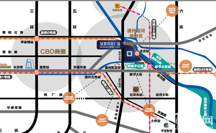 通州绿地中央广场 位置图