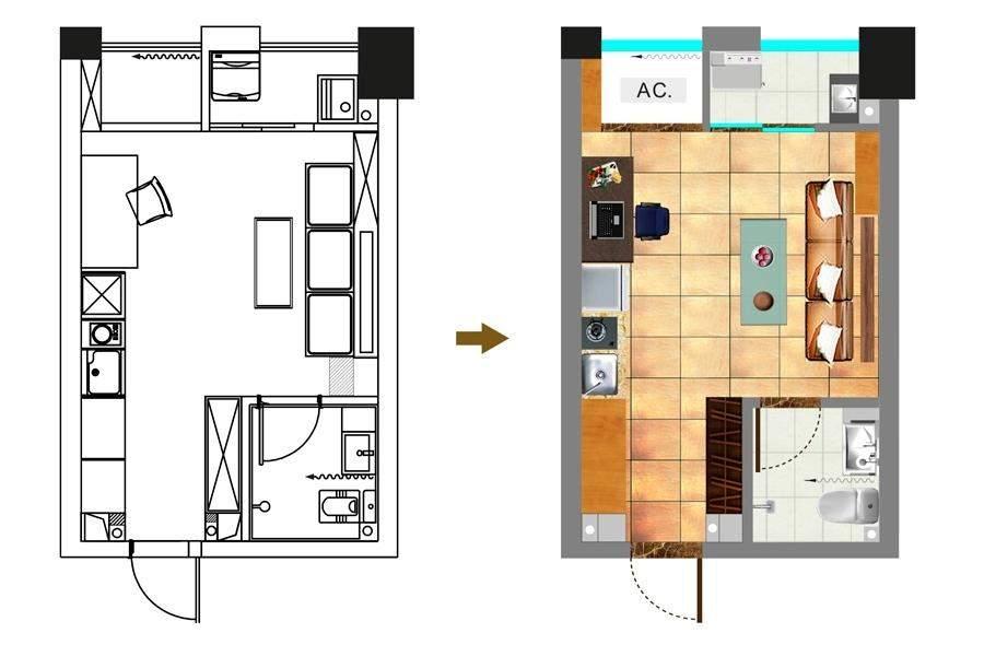 一期1号楼标准层28平户型